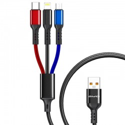 Charging cable Awei CL 971 3 in 1 2.4A Micro USB Lighting USB Type C -