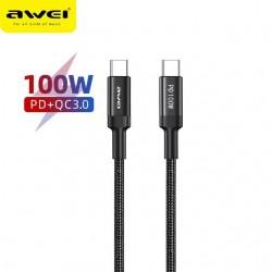 USB Cable Awei CL 117t 100W Type C to Type C 20V / 5A -  Official distributor